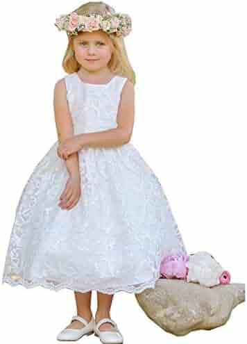 d7c5bdab8a2 Little Girls White Sparkle Sequin Lace Overlay Elegant Flower Girl Dress 2-6