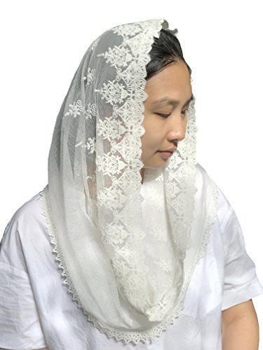 Church Veil Lace Chapel Veil Mantilla Infinity Latin Mass Y029 (Ivory) by Sevenflowers