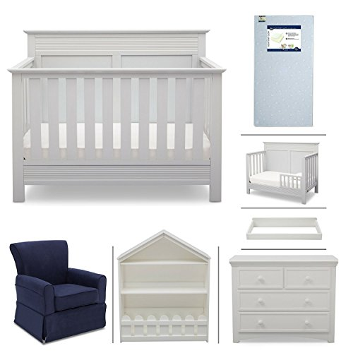 Crib Furniture - 7 Piece Nursery Set with Crib Mattress, Convertible Crib, Dresser, Bookcase, Glider Chair, Changing Top, Toddler Rail, Serta Fall River - White/Navy
