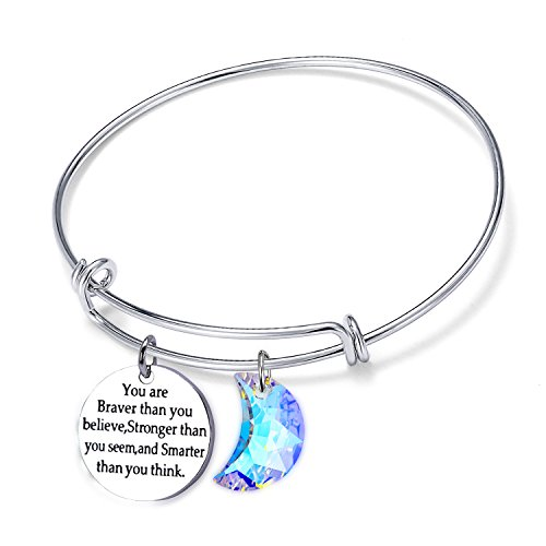 Jaxinty Stainless Steel Adjustable Bracelets Expandable Wire Enagraved Inpirational Moon Charm Bangle Bracelet for Women