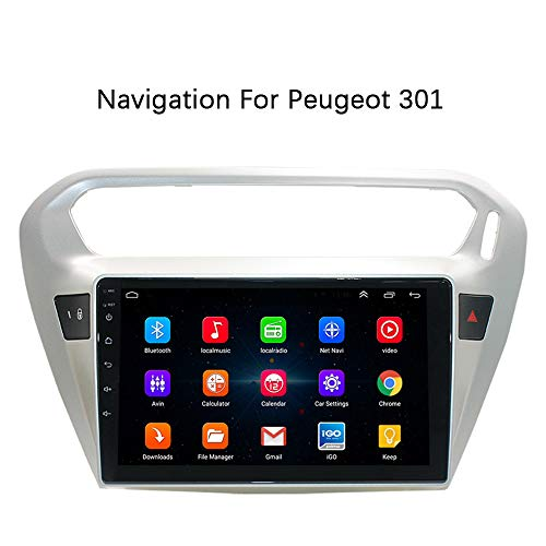 XZZTX 10 Inch Car Radio Stereo GPS Navigation Touch Screen Player for Peugeot 301 Support Bluetooth WiFi FM 1080P Video Mirror Link Steering Wheel Control