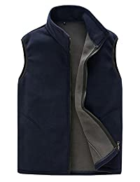 Mens Lightweight Sleeveless Fleece Vest Front Zipper Jacket Coat with Pockets