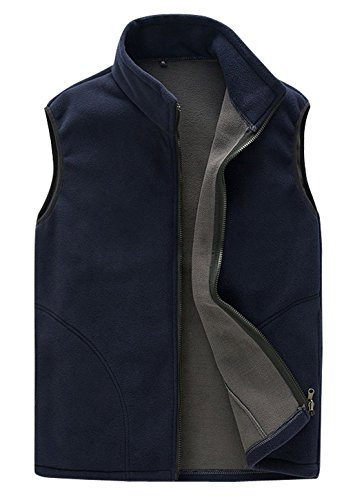 Front Zipper Sleeveless Fleece Vest Golf Athletic Sweater Jacket with Pockets Navy Blue XL