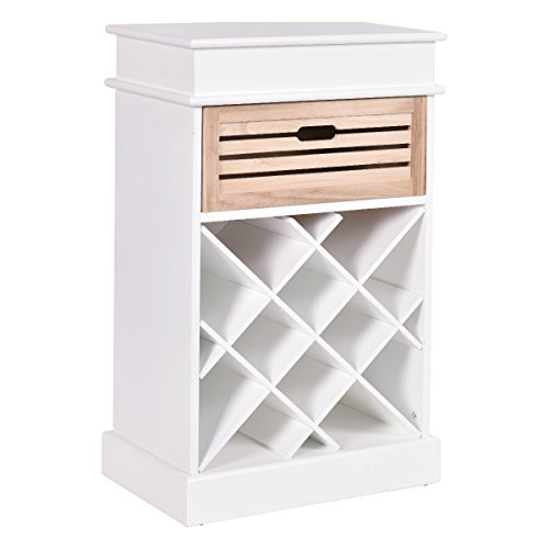 Giantex 12 Bottles Wine Rack Cabinet Storage Display Shelves Wood Kitchen Decor White (White) by Giantex