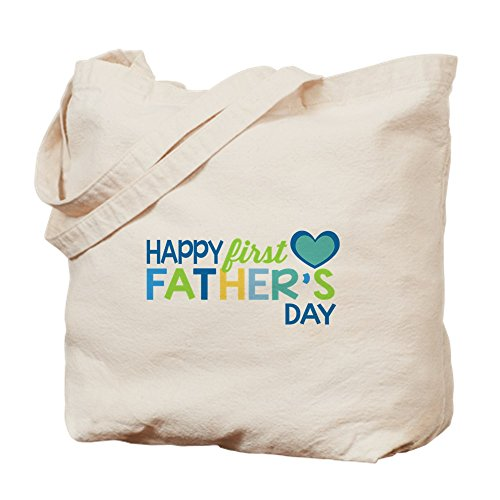 CafePress–haopy primer día del padre los niños–Gamuza de bolsa de lona bolsa, bolsa de la compra Small caqui