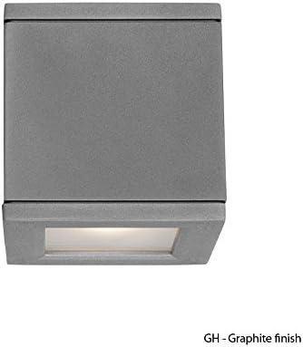 WAC Lighting WS-W2505-GH Rubix LED Outdoor Wall Light Fixture, Double Light, 3000K, Graphite