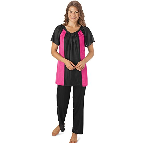 Womens Two Tone Sleeve Tricot Pajamas