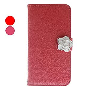 SOL ships in 48 hours Noble Rhinestone Camellia Design PU Leather Case for Samsung Galaxy S4 I9500 (Assorted Colors) , Red