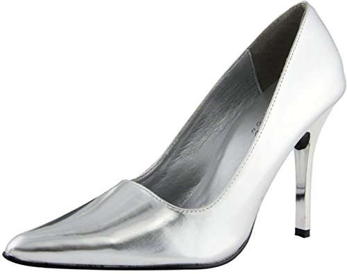 The Highest Heel Women's CLASSIC Silver Metallic Pump 5 B(M) US ()