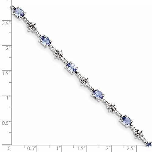 Sterling Silver Rhodium Plated Tanzanite and Diamond Bracelet (Color H-I, Clarity SI2-I1)