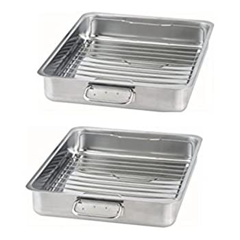 IKEA - KONCIS Roasting pan with grill rack, stainless steel (2, 16x13)