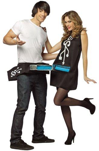 Rasta Imposta Usb Port and Stick Couples Costume, Black/Blue, One (Computer Halloween Costume)