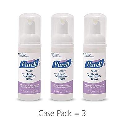 Purell SF607 Hand Sanitizer Foam Pump Bottle - Portable Foaming Hand Sanitizer, 45mL Pump Bottle (Case of 3) - 5684-08-EC