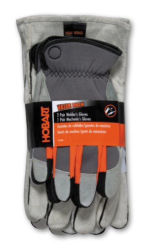 Hobart 770408 2-Economy and 1-Mechanics Gloves, 3-Pack (Economy Gloves Welding)