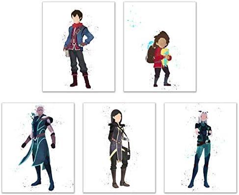 Watercolor The Dragon Prince Poster Prints Set Of 5 8x10 Glossy Netflix Xadia Wall Art Decor Callum Claudia Rayla Runaan Ezran Amazon Sg Home
