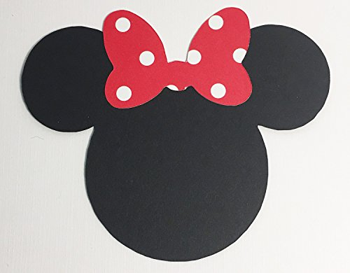 Disney Minnie Mouse Black Card Stock Die Cuts with Polka Dot Swirl Double Sided Bow Paper Bow Large 4 Inch (Attic Double Sided Paper)