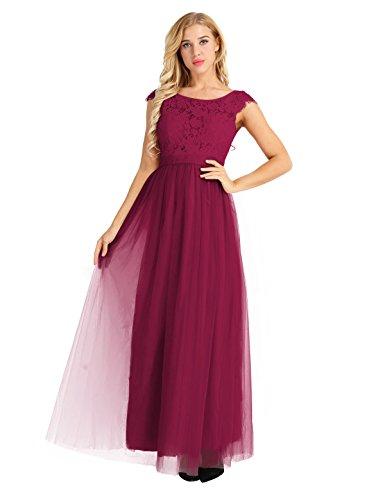4ddc3be5c2ea36 ... Elegant Tiaobug Hochzeit Kleid 34-46 Partykleid Bordeauxrot Cocktailkleid  Langes Abendkleid Ärmellos Festliches Gr Damen ...