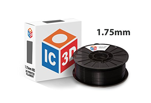 IC3D Black 1.75mm ABS 3D Printer Filament - 1kg Spool - Dimensional Accuracy +/- 0.05mm - Professional Grade 3D Printing Filament - Made in USA