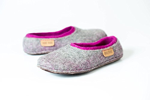Gray felted wool slippers with purple inner layer for her, Handmade women home shoes