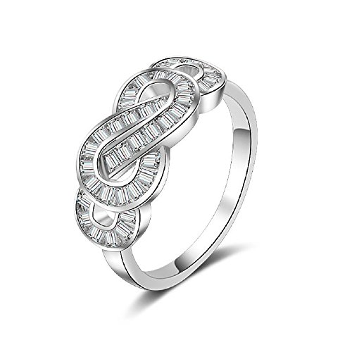 Uloveido Fashion Infinity Swirl Wedding Ring with Baguette Cubic Zirconia Rhodium Plated Jewelry for Girl-Friend JZ095 Size 8 ()