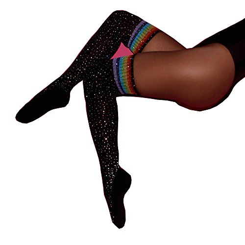 FLEAP Fashion Sexy Rhinestone Striped Over Knee Socks Thigh High Stockings,Black Multicolor (Christmas Stocking Rhinestone)