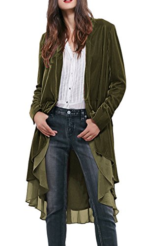 (R.Vivimos Womens Ruffled Asymmetric Long Velvet Blazers Coat Casual Jackets (Small, Army Green) )