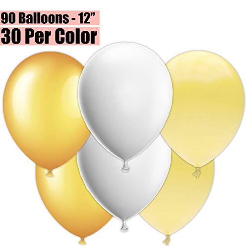 (12 Inch Party Balloons, 90 Count - Metallic Gold + White + Ivory - 30 Per Color. Helium Quality Bulk Latex Balloons In 3 Assorted Colors - For Birthdays, Holidays, Celebrations, and More!!)