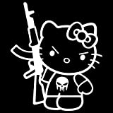 hello kitty gun car decal - Hello Kitty AK-47 Punisher Machine Gun Vinyl Decal Sticker (HK-17) (White, 10 inches x 8.4 inches)