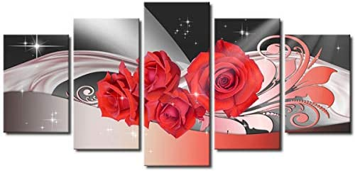 Melpa Art Large Size Red Rose Flower Wall Art Painting Modern Abstract Canvas Pictures Prints for Home Decor