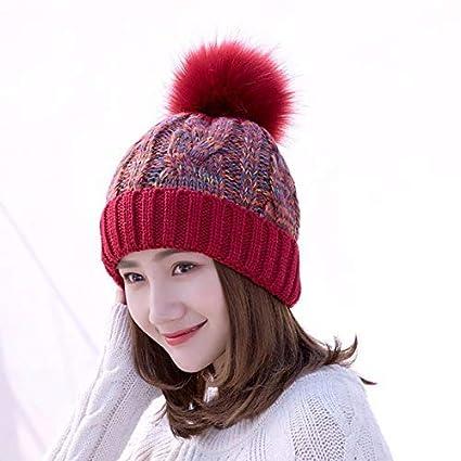 da483cff480f0 Casquillo de los sombreros de moda Gran bola de pelo flor línea de punto al  aire ...