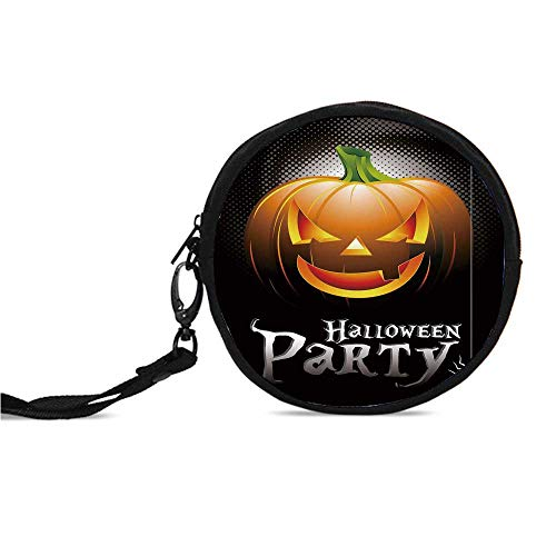 Halloween Durable Round Coin Purse,Halloween Party Theme Scary