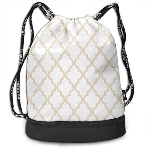 Moroccan Quatrefoil Pattern鈭?Muslin Beige Fashion Outdoor Shopping Canvas Backpack Bundle Pocket Backpack Rope-Pulling Bag Sports Bag for Fitness Shopping Yoga