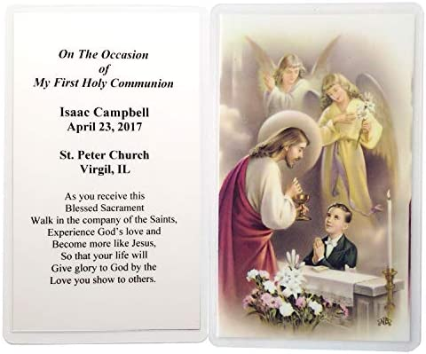 Amazon.com: 16 Personalized Boys First Communion Holy Cards: Toys