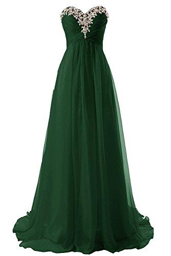 Abiti lungo sera Abiti Verde Scuro Senza Vestito spalline da Chiffon ballo damigella JAEDEN da Donne da RCpqff