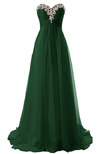 (JAEDEN Prom Dress Bridesmaid Dresses Long Chiffon Formal Evening Gown A line Dark Green US6)