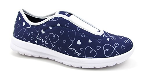 Move Women's Cute Memory Foam Elastic Gore Nursing Shoes - Printed - Florence (9, Stetho Love -