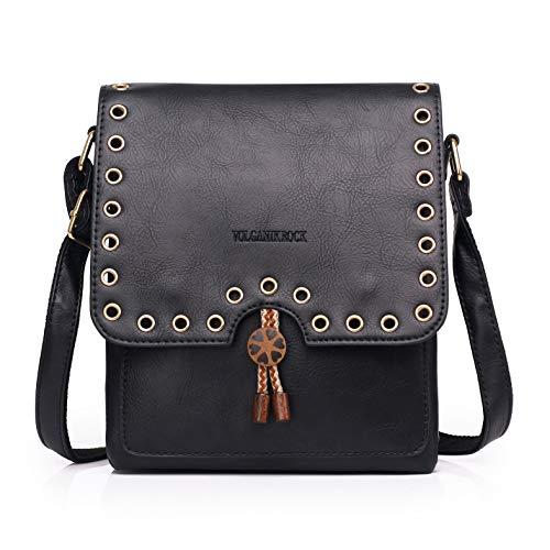 Women Crossbody Bag with Retro Tassel Multi Zip Pocket Shoulder Bag Faux Leather Purse and Handbag Adjustable Strap (C160-Black)