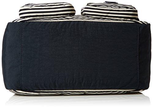 Kipling Unisex-Erwachsene Defea Schultertaschen, 33x25x19 cm Mehrfarbig (Marine Stripy B)