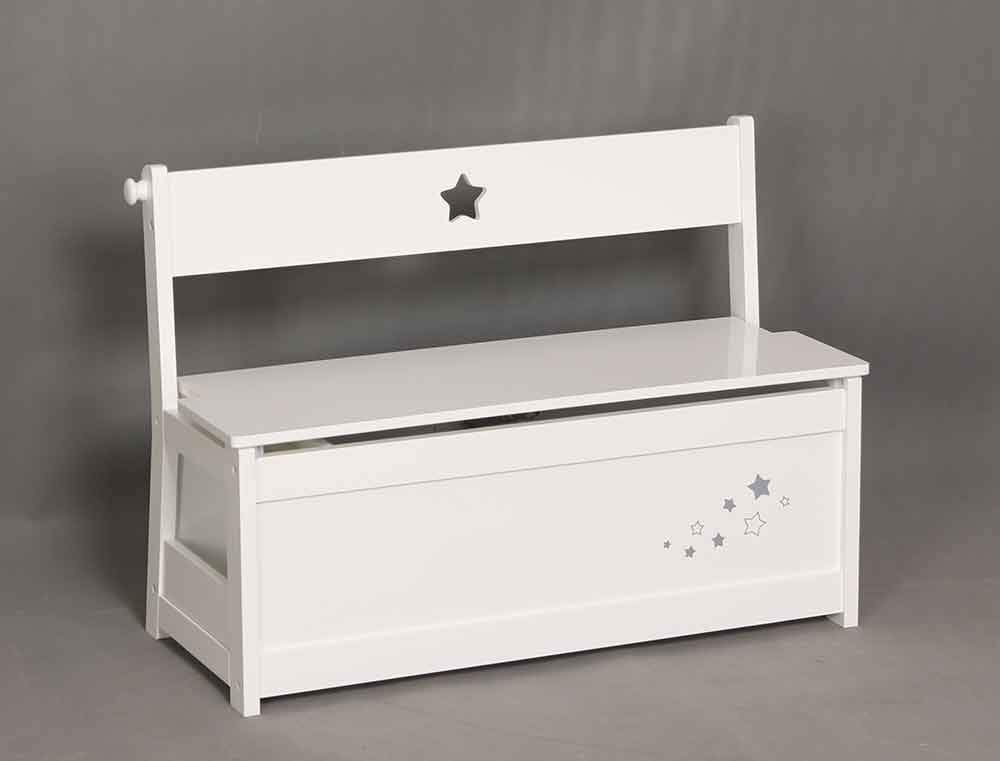 Phenomenal Sr Kids White Toy Storage Bench Seat Chest With Star Design Download Free Architecture Designs Grimeyleaguecom
