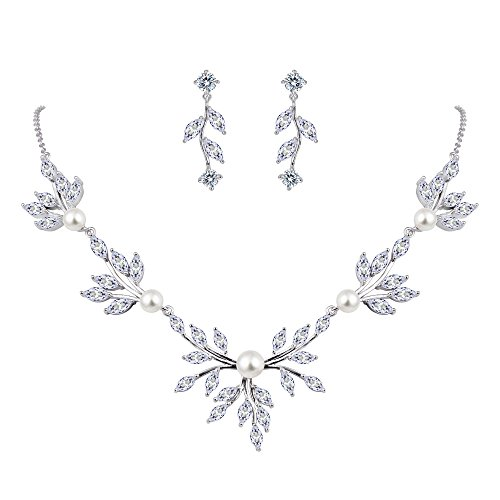 EVER FAITH Women's CZ Simulated Pearl Wedding Floral Leaf Necklace Earring Set Clear Silver-Tone