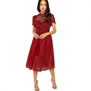 Jjhr Vestido Rojo Sólido Floral Blusa De Malla Dulce Vestido