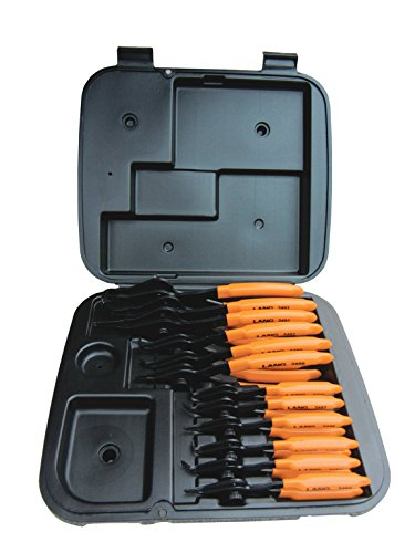 Lang Tools (3495) 12-Piece Fixed Tip Combination Internal/External Snap Ring Pliers Set