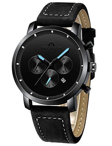 Watch Dress Bears Mens - Mens Black Watches Men Military Waterproof Chronograph Sport Stainless Steel Wrist Watch Business Dress Date Analogue Quartz Watches for Man