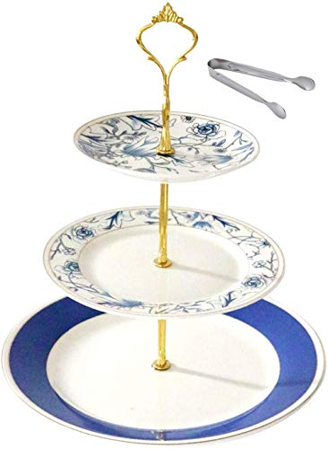Jusalpha 3-tier PorcelainCake Stand/Cupcake Stand Tower/Dessert Stand/Pastry Serving Platter/Food Display Stand (FD-3RBG 02)
