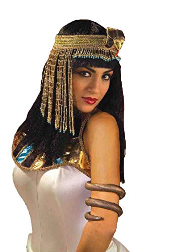 Forum Novelties Women's Egyptian Costume Accessory Asp Snake Beaded Headpiece, Gold, One Size -