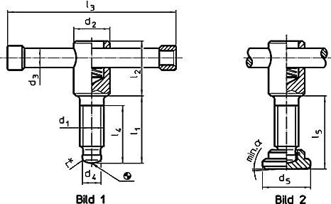 24500.0012 Erwin Halder Normteile Knebelschrauben d1=M12 // l1=50 mm DIN 6306 mit losem Knebel//ohne Druckst/ück Form D