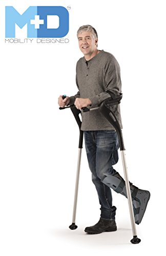 Forearm Crutches, 1 Pair Hands-Free Crutch Cane with Ergonomic Design - Two Walking Support Crutches, Adult Fit (4'11