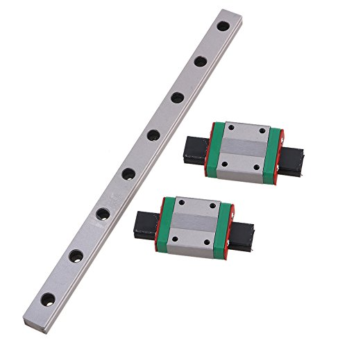 CNBTR MGN12 200mm Linear Sliding Guideway Rail with Bearing Steel Mini Rail Block Precision Measurement Set of 3
