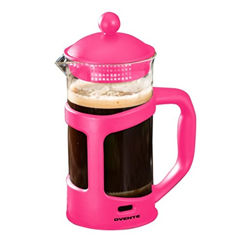 Pink Espresso Coffee Makers (Ovente French Press Cafetière Coffee and Tea Maker, Heat-Resistant Borosilicate Glass, 34 oz (1005 ml), 8 cup, Pink (FPT34F), FREE Measuring Scoop)