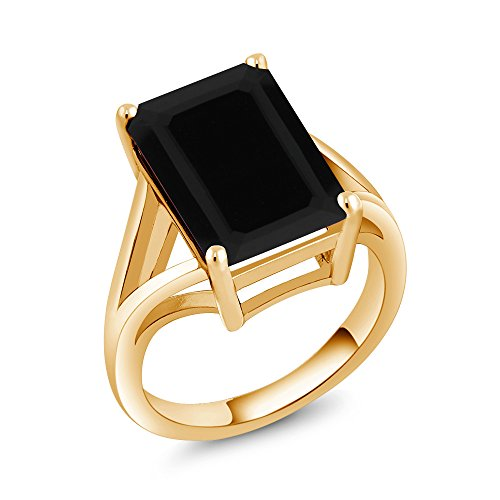 (Gem Stone King Black Onyx 18K Yellow Gold Plated Silver Women's Solitaire Ring 5.00 Ct Gemstone 14X10MM Emerald Cut (Available 5,6,7,8,9) (Size 8) )